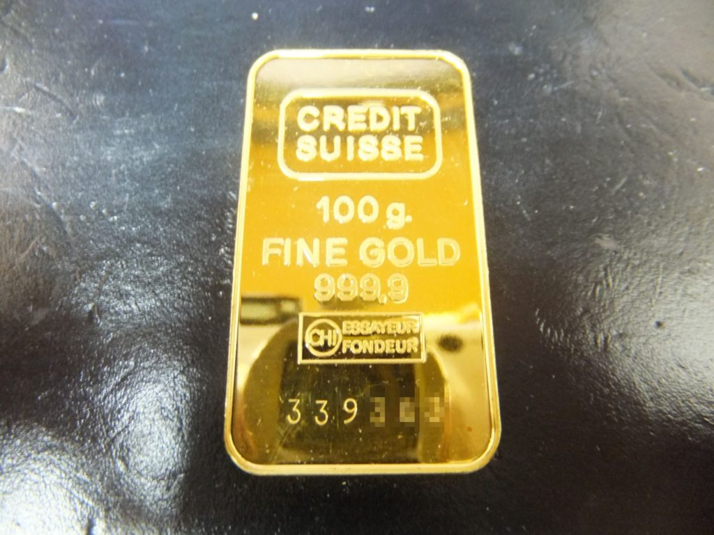 CREDIT SUISSE 100g FINE GOLD 純金 24金 インゴット 地金 金塊 延棒