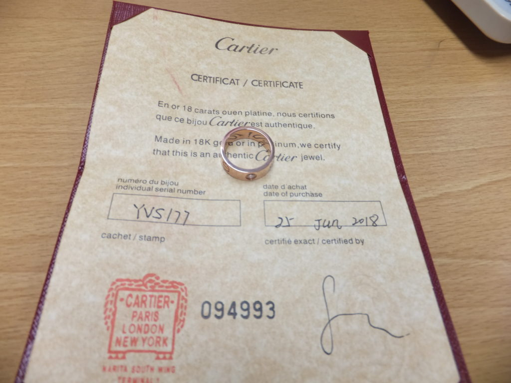 Cartier(カルティエ)成田空港免税店の保証書 シリアル:YVS177